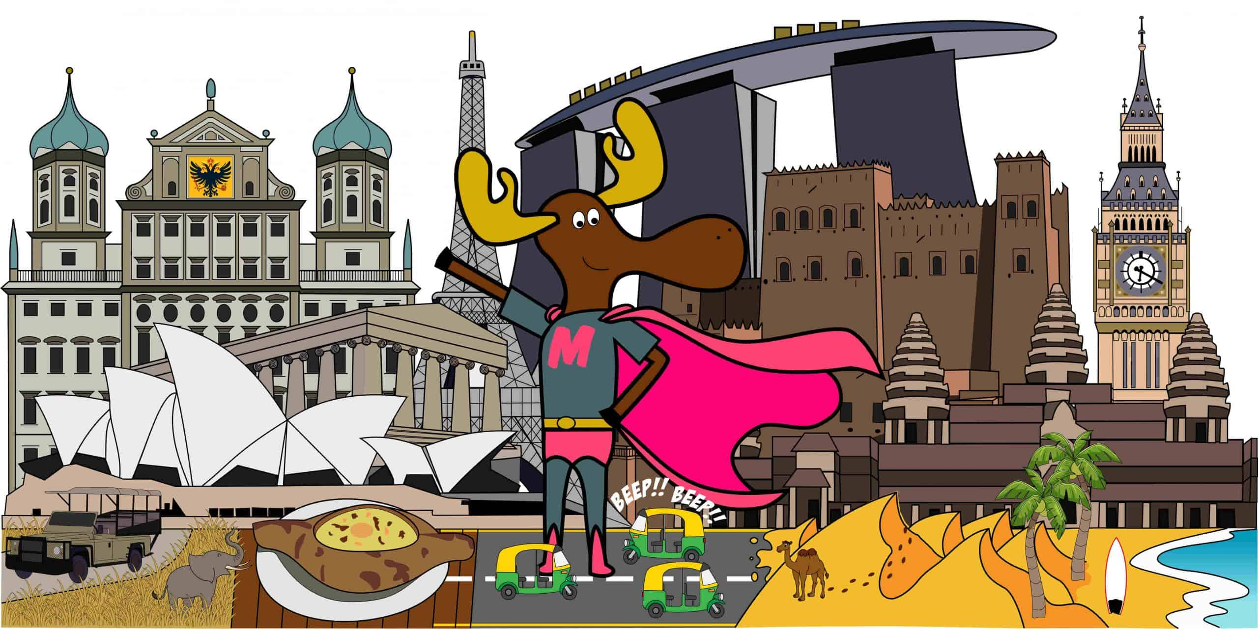 Milli the moose with famous landmarks in the background